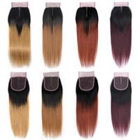 ombre insan saç kısmı toptan satış-Ombre Renkli Saç Satıcıları İnsan Saç Dokuma Orta Kısmı 4x4 Dantel Kapatma Uzantıları Doğal Siyah 1B / 27 1B / 30 1B / 33 1B / 99J