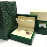 Wholesale wood gifts for sale - Super Watch box Green box Papers Mens Gift Watches Boxes Leather bag Card KG For Rolex Watch Box With Bag