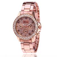 Wholesale rose gold ladies geneva watch - Women Watches Geneva Diamond Watch Metal Steel Alloy Clock Lady Male Wristwatches Luxury Rose Gold Silver Fast Free Shipping