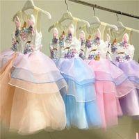 Wholesale tutu embroidery - Girl Unicorn Dress Summer New Embroidery Flower Baby Girls Party Dresses Kids Wedding Dress Little Girl