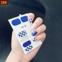 Wholesale nail stickers girls - Blue White Lattice Nail Stickers 5 Sheet Decals 3D Nail Design for Women Girls Included Free Nail File Disinfectant Wipes