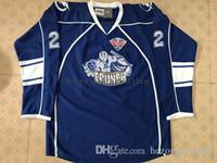 hockey jerseys оптовых-#22 Matthew Peca Syracuse Crunch Hockey Jersey Синяя вышивка сшитая на заказ любое количество и название Джерси