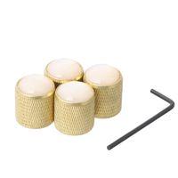 ses düğmeleri toptan satış-4 ADET Siyah Pirinç Dome Topuzu Ses Tonu Kontrol Düğmeleri için Elektro Gitar Bas