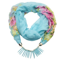 Wholesale choker scarf necklace - Fashion scarf necklace for women beads pendent jewelry wrap bandana ethnic foulard lic winter female accessories colorful flower