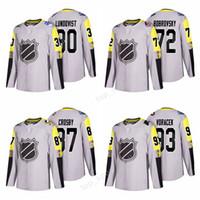 sidney jersey al por mayor-2018 All Star Alex Ovechkin Jersey 8 Metro Division Grey 28 Claude Giroux 87 Sidney Crosby Braden Holtby Nick Leddy All-Star Hockey Jerseys