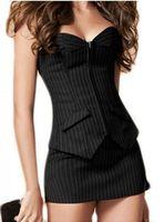 ingrosso corsetto con zip-Aizen Bustier Corset Gonna Dress Sexy Nero Pinstripe Corsetto Overbust Office Lady Lace Up Costume Plus Sizs Zip Corsetti Mini