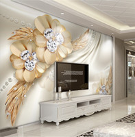 Wholesale gold wallpapers bedroom resale online - Custom Photo Wallpaper Mural Wall Sticker Gold High Level Diamond Flower Jewelry Background Wall papel de parede