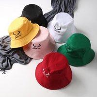 sombreros del estilo de corea al por mayor-Corea del estilo de la mujer sombreros del cubo sombrillas con exquisito bordado plegable sombrero para el sol pescador sombrero al aire libre tapas de viaje