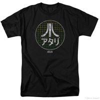 jeux vidéo japonais achat en gros de-Atari Japanese Grid Classique Jeu Vidéo Adulte Hommes T-Shirt Noir T Shirt O-Neck Mode Casual Haute Qualité Imprimer Top Tee
