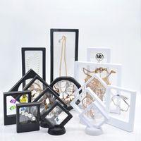 mücevher metal standları toptan satış-Askıya Yüzen Vitrin Takı Yüzük Kolye Ekran Standı Tutucu Bague Ambalaj Kutusu Yüzer Sunum Vaka Korumak