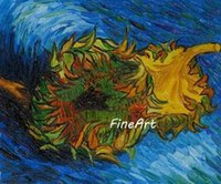 berühmte moderne kunst gemälde großhandel-handgemachtes ölgemälde großhandel vincent van gogh zwei sonnenblumen leinwand malerei berühmte gemälde reproduktion kunst moderne gemälde gemalt