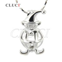 Wholesale silver clown pendant - New arrivals Pack of 5, 18KGP silver plated Clown shape cage pendant, 21.7*12.3*10.8mm
