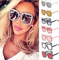 Wholesale Small Square Sunglasses - 8 Colors Brand Sunglasses Luxury Diamonds Design Vogue Sunglasses Large Square Frame Small Legs Popular Protection Sunglasses CCA9388 1pcs
