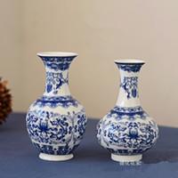 ingrosso insiemi di vasi-2 PZ / SET Jingdezhen ceramica blu e bianco porcellana piccolo vaso decorazione della casa desktop vaso di fiori mensola artigianato di alta qualità