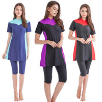 Wholesale modest islamic swimwear - Women Plus Size 4XL Modest Muslim Swimwear Short-sleeved Burkinis Hijab Muslimah Islamic Swimsuit Sport Womans beachwear Clothing