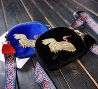embroidery designs cartoons NZ - Personality design shoulder bag 2018 Hot fringe hand embroidery gold velvet phone bag retro messenger bag