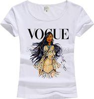 Wholesale Princess Vogue - New Casual T-shirt Vintage Print Women T shirt 2017 Vogue Cotton Short Sleeve Tops Female Tees Shirts Princess Girl JV01