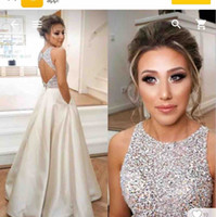 Wholesale Beaded Top Prom Dresses - O-Neck Ivory A-Line Prom Dresses Beaded Top Open Back Custom 2018 Formal Vestidos De Soiree Custom Sleeveless Evening Party Gowns Cheap