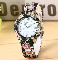 ginebra relojes florales al por mayor-100 unids / moda creativa impreso floral mesa Ginebra aleación impresa reloj electrónico 10 spot en stock Mujer reloj de cuarzo regalo creativo