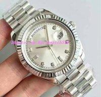 relógios de rosto branco para homens venda por atacado-Mens Watch Sweep face branca Movimento automático diamantes mecânicos Dia- prata Stainess pulseira de aço Homens Relógios