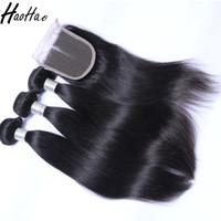 paquetes de pelo afroamericano al por mayor-Paquetes de trama de cabello humano con frontal y cierre Pelo virginal brasileño Cabello humano recto para mujeres afroamericanas negras