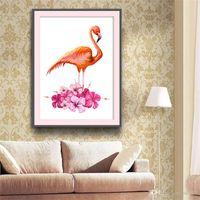 pinturas românticas modernas venda por atacado-Diy rodada 5d diamante pinturas estilo romântico sem moldura breve estilo moderno flamingo ponto cruz cheia de dril para sala de estar 34om3 zz