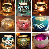 Wholesale Cylinder Candle Holders Wholesale - European Mosaic Glass Candlestick Wedding Party Prop Wedding Bar Home Decoration Lantern Candle Holder XMAS Gifts Not With Candle TY7-271