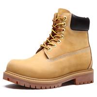 mens botas de cuero de invierno al por mayor-Nuevo Hombres de cuero genuino Martin Botas Moda Hombre Zapatos de invierno Zapatos de trabajo Antideslizantes Botines amarillos Unisex Plus Tamaño 45