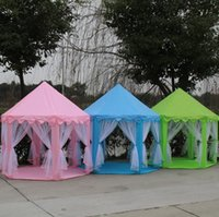 Wholesale play balls kids online - Portable Princess Castle Play House Colors Outdoor Six Angle Kids Play Toys Tent Ball Play Tents OOA5480