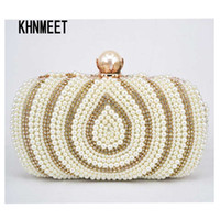 Wholesale pearls purses clutches - Fashion Gold White Pearl Women Party Evening Bag Chain Beaded Prom Clutch Bag Lady Bridal Wedding Purse Female Day Clutch JMS540