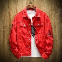 мужская одежда из хип-хопа оптовых-Men's Jean Jacket Slim Men Fits Denim Jacket Solid Male Jean Coats Men Cowboy Fashion  Clothing Hip Hop Sudaderas Mujer 5XL