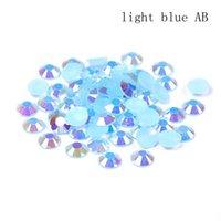 rhinestones azul resina flatback venda por atacado-2-6mm luz azul AB Resina Strass DIY Unhas Arte Decoração Flatback Rodada Facetas cola na Beads para fazer jóias
