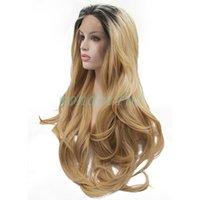 Wholesale 12 inches blonde lace wig resale online - Ombre Blonde Wig With Dark Roots Inch Wavy Synthetic Lace Front Wig With Baby Hair Heat Resistant Fiber Wigs For Women