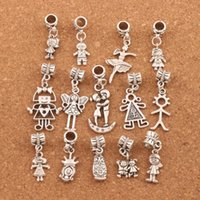 Wholesale charm bracelet girls - Pretty Girl Boy Charm Beads 100pc lot Tibetan Silver Fit European Bracelet Jewelry DIY Loose Beads BM54