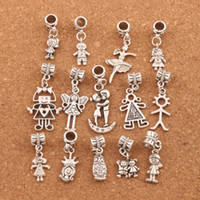 Wholesale Pretty Girl Boy Charm Beads pc Tibetan Silver Fit European Bracelet Jewelry DIY Loose Beads BM54