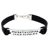 Wholesale leather bracelets for sale - Group buy Inspirational Bracelet She Believed She Could So She Did Adjustable Braid Leather Charm Inspirational Gift For Students Girls Women Children