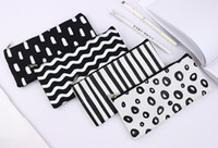poches de sacs à cosmétiques achat en gros de-Stripe Crayon Sac École De Poche Cosmétique Maquillage Crayon Stylo Organisateur Sac Étui Pochette Fournitures Scolaires