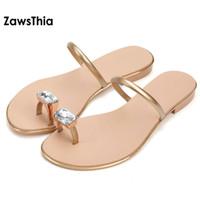 Wholesale diamond gold heels - ZawsThia 2018 summer genuine cow leather woman flip flops beach slides slippers flat heel women shoe mules with diamond crystal