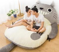 totoro bed toptan satış-Büyük Totoro Tek Ve Çift Yatak Dev Totoro Yatak Yatak Yastık Peluş Yatak Pad Tatami Minder Beanbag matelas