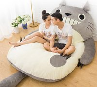 Wholesale totoro bed - Large Totoro Single And Double Bed Giant Totoro Bed Mattress Cushion Plush Mattress Pad Tatami Cushion Beanbag matelas