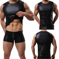 camisola de alças preta de nylon venda por atacado-Couro Falso dos homens Molhado Olhar Colete Sem Mangas Muscle Undershirt Camisola Preta Camisa Clubwear Tee Casual