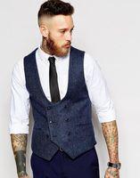 Wholesale men satin waistcoat - Latest Coat Pant Designs Navy Blue Double Breasted Tweed Men Vest Waistcoat Fashion Slim Fit Formal Custom Stylish Vestidos