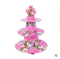 Wholesale unicorn party supplies online - Unicorn Kids Birthday Party Decoration Cake Stand Cake Accessory Baby Shower Supplies Emoji Paper Cupcake Hold DHL