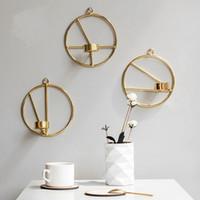 bougeoirs en fer achat en gros de-Bougies simples stand fer art géométrie chandelier mode originalité bougeoirs en métal salon tv armoire ornement 15om gg