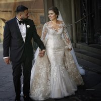 Wholesale womens plus size long skirt - 2018 Modest Long Sleeve Mermaid Wedding Dresses With Detachable Train Lace Appliques Bridal Gown Vestido Overskirts Dress for Womens