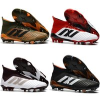 Wholesale Football Boots Free Shipping - Original Predator 18.1 Mens FG Football Boots Free Shipping 2018 Techfit Laceless High Ankle Soccer Cleats Cheap Soccer Shoes New