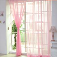 salon kapıları için perdeler toptan satış-Saf Renk Tül Kapı Pencere Perde Dökümlülük Paneli Şeffaf Eşarp Valances Modern Yatak Odası Salon Perde cortinas Perde