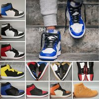 Wholesale Metallic Mesh Top - High OG 1 Top 3 Men Basketball Shoes Wheat Gold Bred Toe Chicago Banned Royal Blue Fragment UNC Shattered Backboard Metallic Sneakers Sports