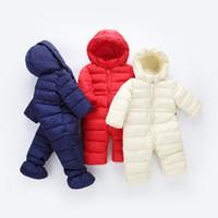 bebek sıcak bodysuit toptan satış-2018 bahar Kış Tulum Bebek Yenidoğan snowsuit Kar Giyim Mont Erkek Sıcak Romper% 100% aşağı Pamuk Kız giysileri Bodysuit