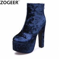 Wholesale nightclub high heels for women resale online - Fashion Velvet Women Boot Autumn Winter Party Nightclub Ladies Shoes Extreme High Heels Round Toe Platform Ankle Boots for Woman